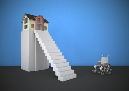 Wheekchair In Front Of Steep Stairs