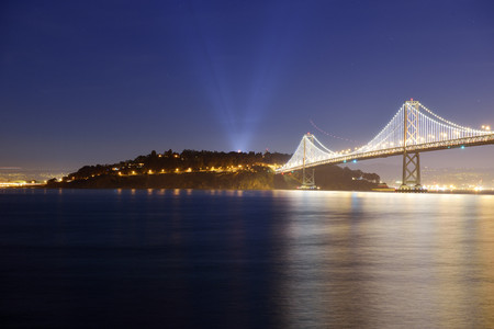 Usa, California, San Francisco, Oakland Bay Bridge And Yerba Buena Island At Night