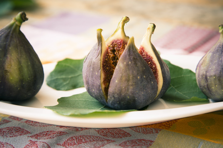 Fresh Cut Fig With Leaves LANG_EVOIMAGES