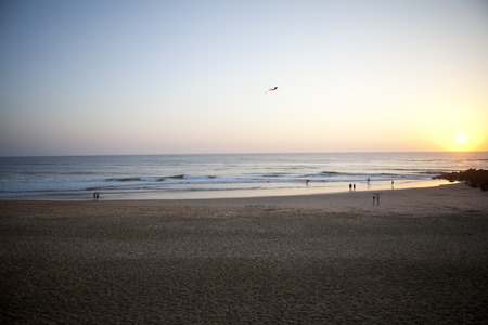 France, Aquitaine, Capbreton, People Relaxing On The Beach At Twilight