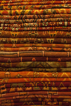 Morocco, Marrakesh, Stack Of Traditional Woven Carpets