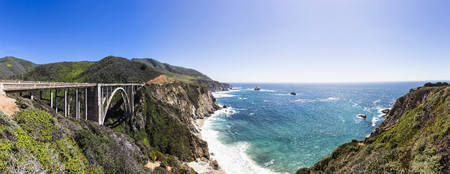 Usa, California, Big Sur, Pacific Coast, National Scenic Byway, Bixby Creek Bridge, California State Route 1, Highway 1, Panorama