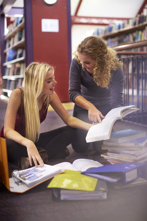 Two Female Students Learning In A Library