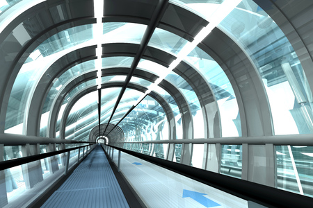 Futuristic Passage Of Railway Station, 3D Rendering LANG_EVOIMAGES