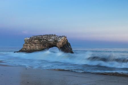 Usa, California, Santa Cruz County, Big Sur, Pacific Ocean, Natural Bridges State Beach, Natural Bridge, Blue Hour