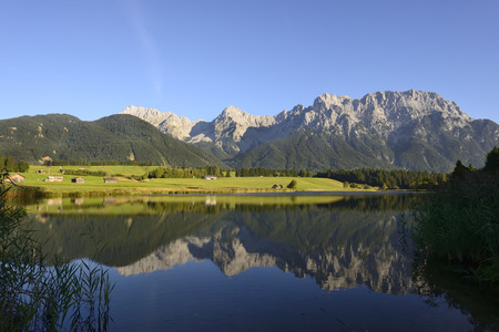 Germany, Bavaria, Upper Bavaria, Near Klais, Lake Schmalsee With Karwendel Mountains In Background