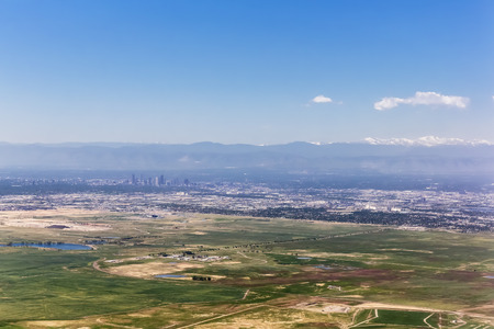 Usa, Colorado, Denver, Rocky Mountains In The Background, Aerial View