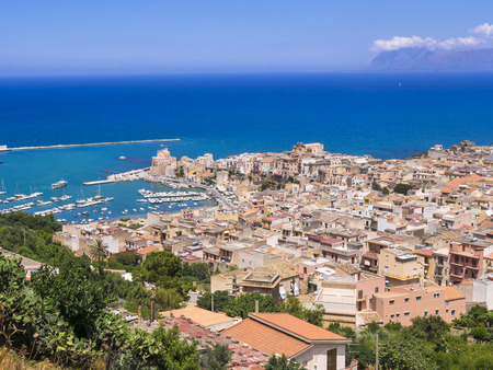 Italy, Sicily, Townscape Of Castellammare Del Golfo With Fort And Harbor LANG_EVOIMAGES