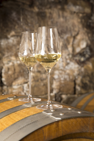 Two Glasses Of White Wine In Wine Cellar LANG_EVOIMAGES