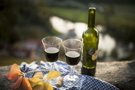 Bottle Of Red Wine And Two Glasses In Evening Sun