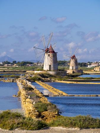 Italy, Sicily, Province Of Trapani, Marsala, Laguna Dello Stagnone, Saline Ettore Infersa, Wind Mill