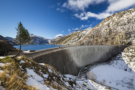 Switzerland, Grisons, Medel, Reservoir Lai Da Sontga Maria At Lukmanier Pass