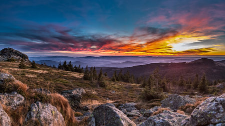 Germany, Bavaria, Bavarian Forest, Great Arber At Sunset