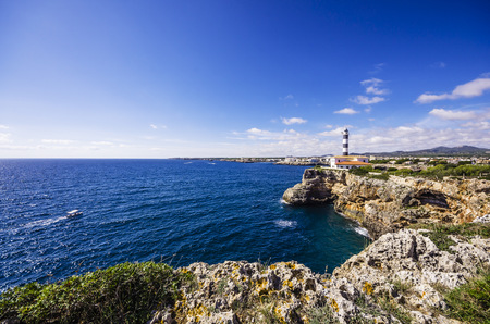 Spain, Mallorca, Porto Colom, Lighthouse