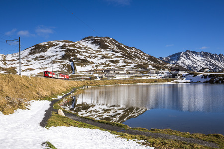 Switzerland, Canton Of Uri, Lake Oberalpsee And Glacier Express LANG_EVOIMAGES
