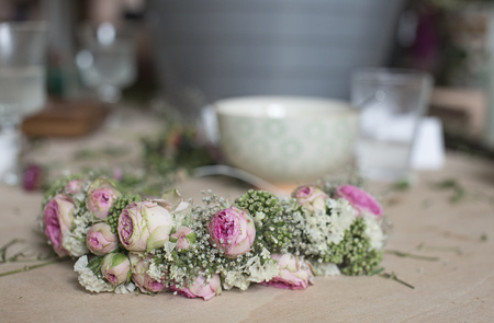 Self-Made Floral Wreath With Rose Blossoms And Gypsophila
