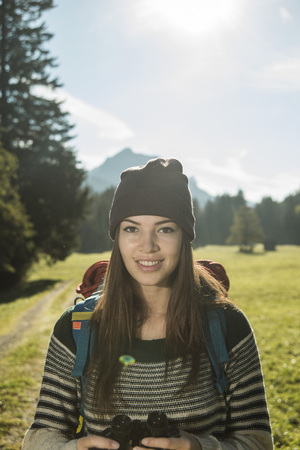 Austria, Tyrol, Tannheimer Tal, Portrait Of Young Female Hiker