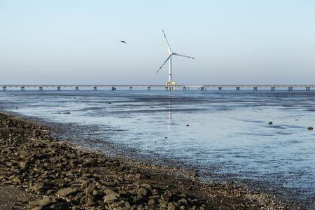 Germany, Lower Saxony, Wilhelmshaven, Jadeweserport, Offshore Wind Wheel, Niedersachsen Bridge, Bulk Terminal Wilhelmshaven