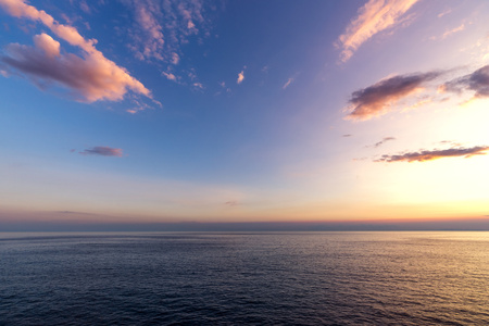 Italy, Liguria, Cinque Terre, Ligurian Sea at sunset LANG_EVOIMAGES