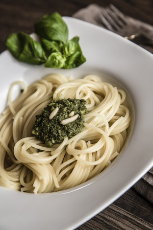 Dish of spaghetti with pesto Genovese