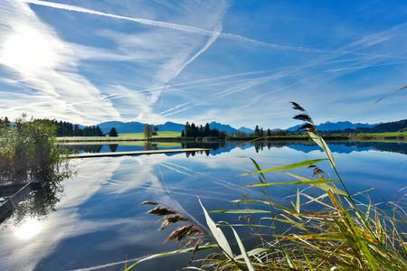 Germany, Bavaria, Allgaeu, landscape with lake at Fuessen LANG_EVOIMAGES