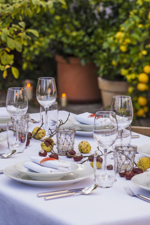 Autumnal laid table in garden LANG_EVOIMAGES