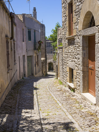Italy, Sicily, Erice, view to empty alley