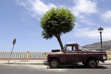 Spain, Canary Islands, La Palma, old pick-up truck in Tazacorte