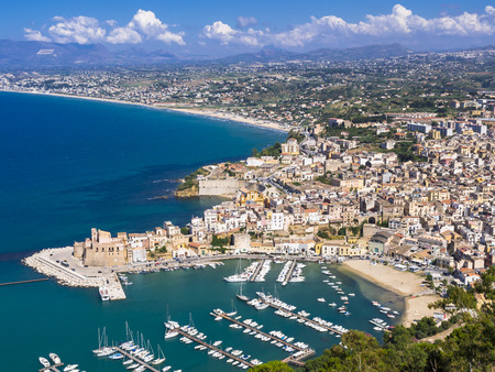 Italy, Sicily, Townscape of Castellammare del Golfo with fort and harbor