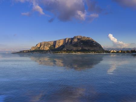 Italy, Sicily, Province of Palermo, Mondello, View to Monte Pellegrino, Palermo
