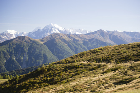 Italy, South Tyrol, Watles Area, View to Ortler Alps and Ortler Peak