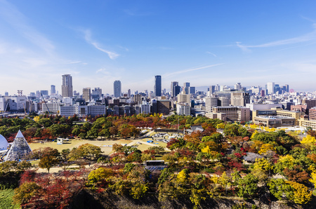 Japan, Osaka, cityscape as seen from Osaka Castle LANG_EVOIMAGES