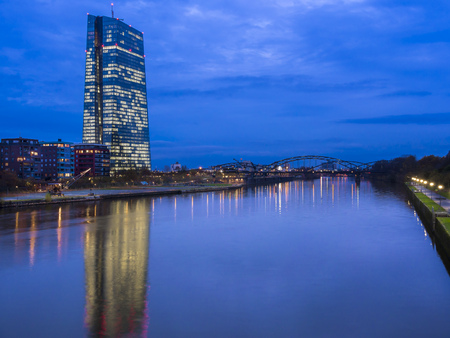 Germany, Frankfurt, River Main with ECB Tower and new campus