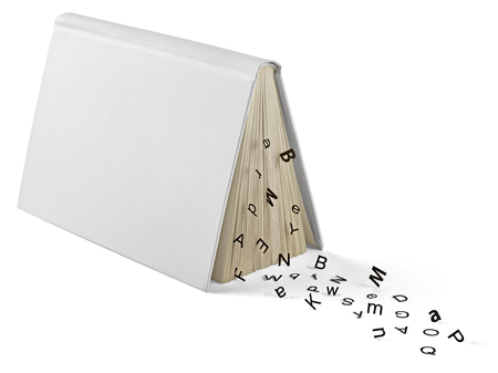 Book and letters in front of white background LANG_EVOIMAGES