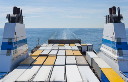 Baltic Sea, Gulf of Finland, ferry with truck trailers