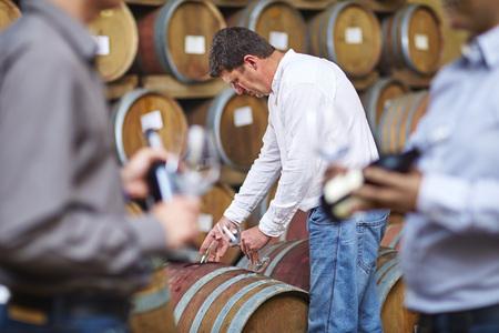 Wine makers tasting wine in wine cellar