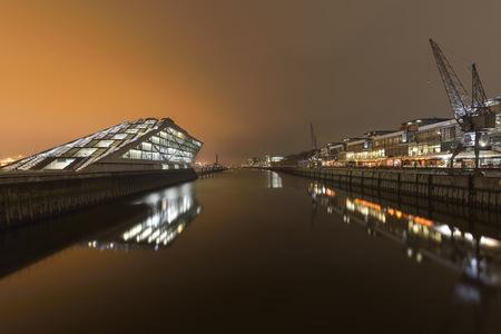 Germany, Hamburg, harbor, modern architecture at Dockland at night