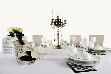 Laid table, white violin and place settings LANG_EVOIMAGES