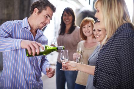 Wine tasting on shop floor