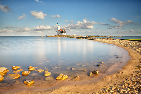 Netherlands, Waterland, Marken, Ijsselmeer, lighthouse Paard van Marken