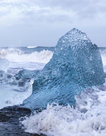 Iceland, southeast coast, ice on seashore