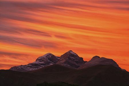 Spain, Ordesa National Park, Monte Perdido massif at sunset