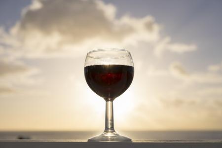Spain, Canary Islands, La Gomera, glass of red wine