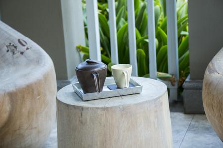 Earthenware jug and cup