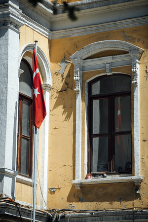 Turkey, Istanbul, Turkish flag at an old building