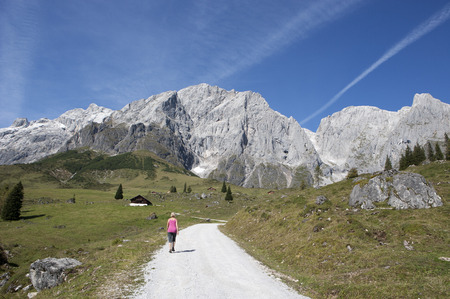 Austria, Salzburg State, Muehlbach, Hochkoenig mountain massif, hiker on hiking trail