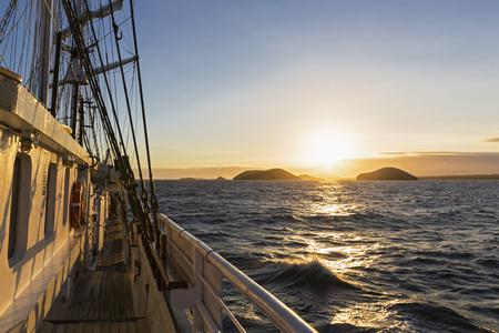 Pacific Ocean, sailing ship at Galapagos Islands