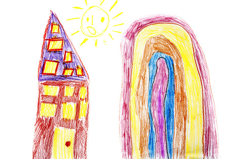 Childs drawing, Colorful house, mountain and sun