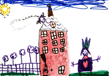 Childs drawing, Castle and princess