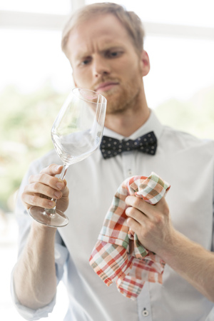 Waiter in restaurant cleaning wine glass LANG_EVOIMAGES